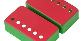 Put 2 pieces Yibuy, 7×3.8x2cm metal guitar pick up cover for electric guitars (red + green)