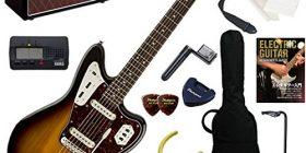 Squier electric guitar beginners introduction to classic Jaguar. Reproduce the distinctive PU control with Jaguar, tremolo system, short scale. Fully 14 points set Vintage Modified Jaguar/3 CS (3-color Sunburst) with popular VOX Pathfinder10 is