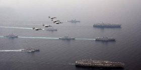 Sea of Japan in they supposed to be scale of the Japan-US fleet that started the joint training is amazing Warota