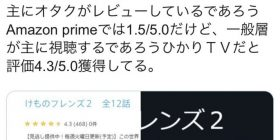 [Sad news] evaluation of Kemofure 2 wwwwwwwwwwwwwww to the topic and too different in the amazon and Hikari TV